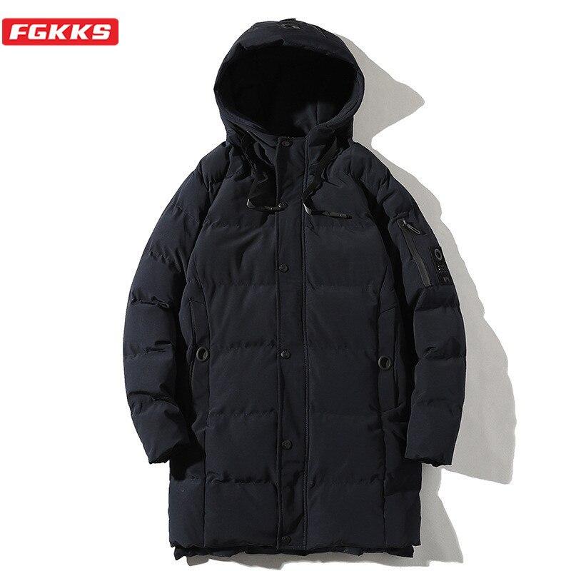 FGKKS Winter New Men Hooded Parkas Casual Mens Solid Color Long Parkas Trend Hooded Parkas Male Overcoat Coats