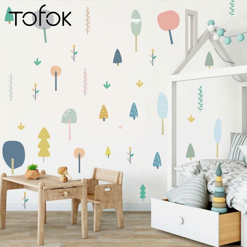 Tofok adesivos de parede floresta, diy, estilo nórdico, bebê, crianças, quarto, berçário, papel de parede, decoração para casa, armário, mesa, mural decalques em forma de