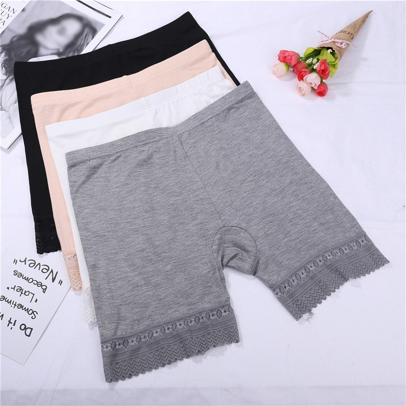 Seamless Lace Safety Pants Women's Underwear Mid-Waist Plus Size Panties Anti-Light Safety Shorts