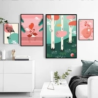 pink abstract landscape flamingos couple love home warm frameless decorative poster waterproof printing anti fading painting