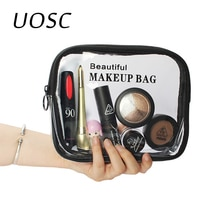 UOSC Fashion Transparent PVC Cosmetic Bag Travel Makeup Bag Bathroom Waterproof Organizer Cosmetic S