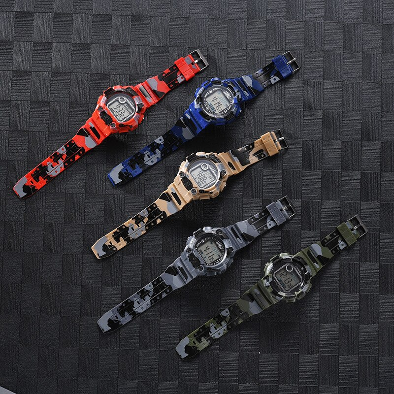 Cool student camouflage electronic watch fashion sports luminous male digital display outdoor watch