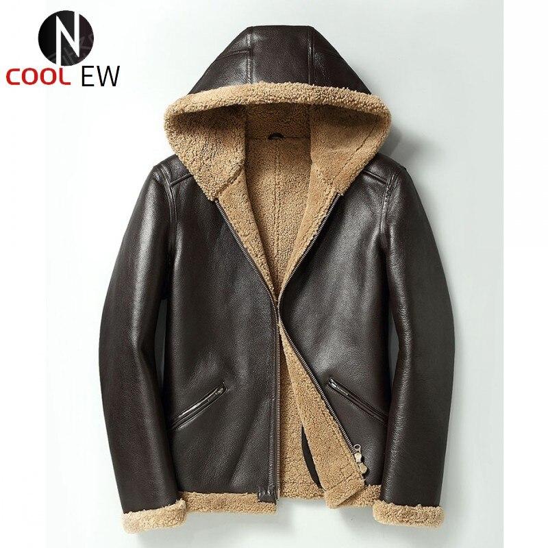 الأصلي جلد الغنم معطف مقنع الرجال الفاخرة الشتاء دراجة نارية سترة جلدية حقيقية الفراء الحقيقي سترة ملابس خارجية حجم كبير