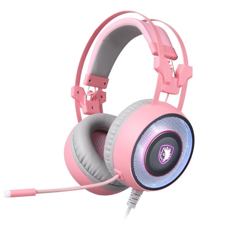 Sadea G60 juegos por cable de auriculares con micrófono de canal 7,1 de reducción de ruido de juego de música de Internet café auriculares con dibujos animados
