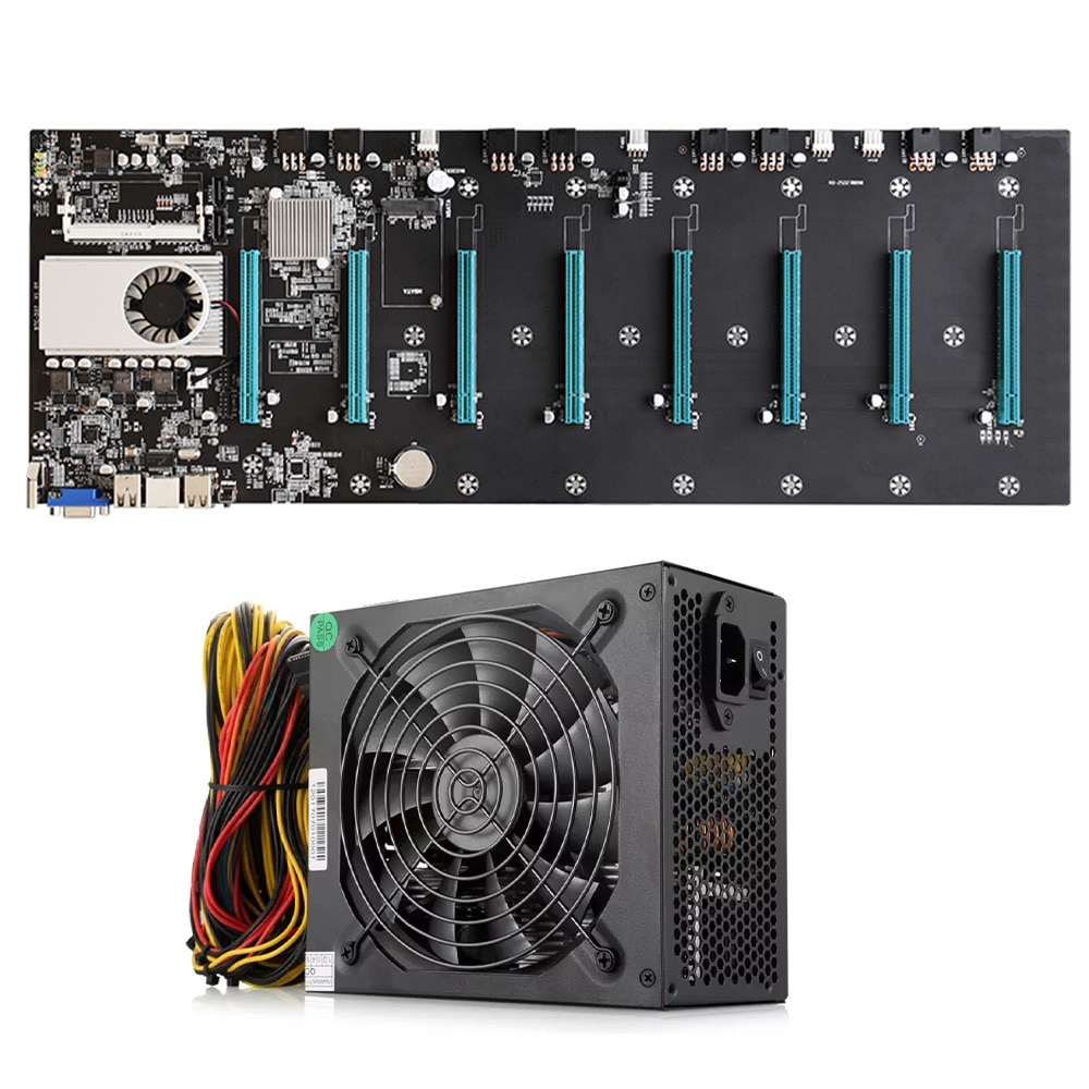 BTC-S37 Miner Mining Rig Motherboard Set 8 PCIE 16X Graphics Card SODIMM DDR3 SATA3.0 VGA + HDMI-Compatible + 1800W PSU For ETH
