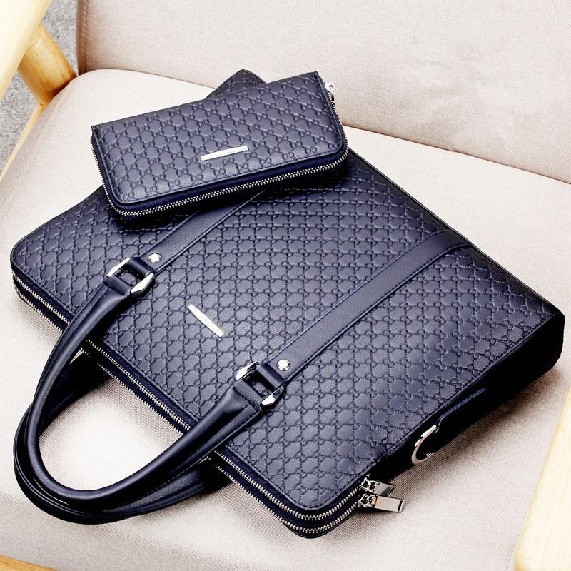 New Double Layers Men's Leather Business Briefcase Casual Man Shoulder Bag Messenger Bag Male Laptops Handbags Men Travel Bags