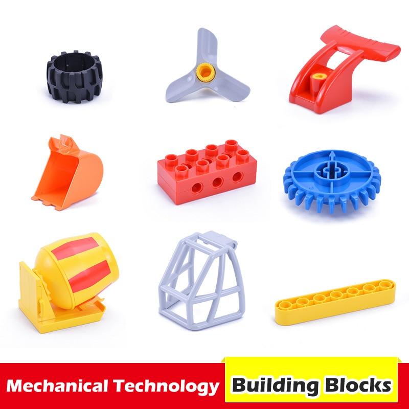 Duplos Teile Blöcke DIY Montage Mechanische Engineering Getriebe Wissenschaft Pädagogisches Zubehör LEGOs Duplos Bausteine Spielzeug
