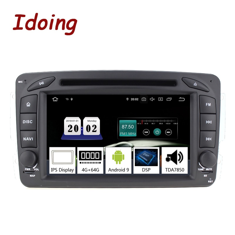 "Idoing 7 ""2 din andriod 9.0 vídeo do carro dvd player multimídia para mercedes-benz w209/203 px5 4g + 64g 8 core ips tela gps navegação"