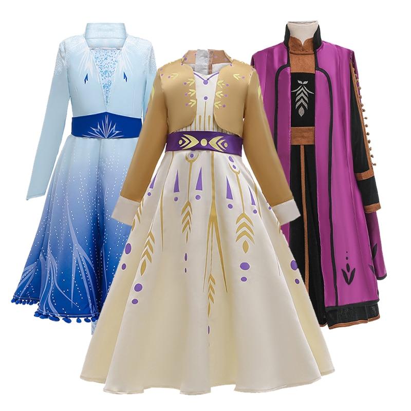 2021 nuevo vestido de princesa para reina de la nieve niñas Elsa...