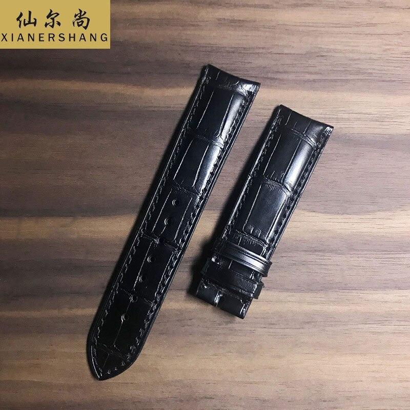 Pulseiras de Relógio de Pele de Crocodilo Novo Macio Duplo Jacaré Correia Universal Personalizado 18mm 19mm 20mm 22mm Couro Genuíno Cinto