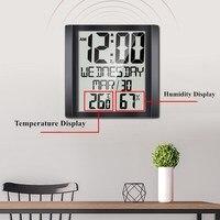 8.6 Inch Wall Clock Alarm Snooze Calendar Temperature Humidity Display Modern Design Digital Table Clock for Home Living Room