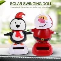 1pcs solar shaking head doll solar swinging santa car decoration cartoon car doll car interior kids toys gifts