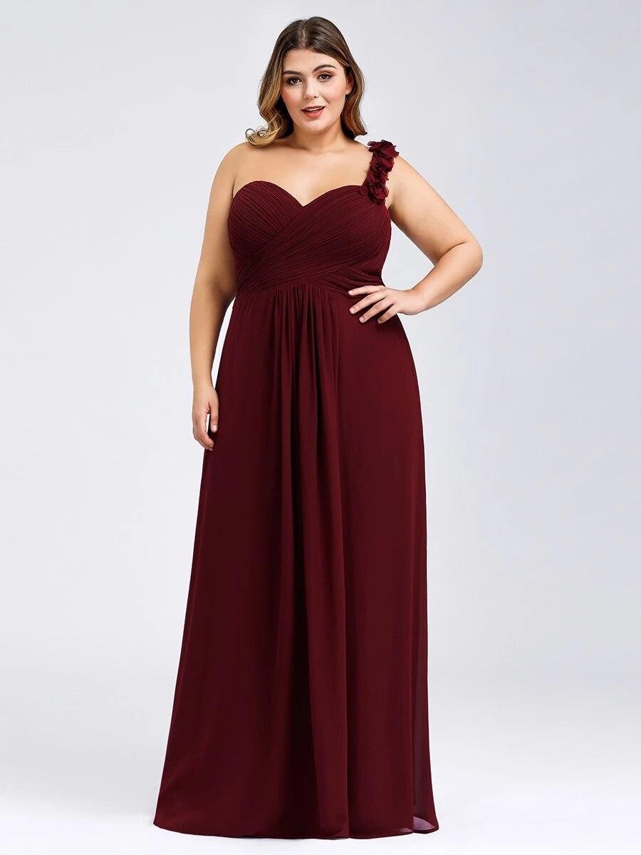 فستان لوصيفات العروس من Ever Pretty Robe de soirée بكتف واحد مقاس كبير من الشيفون للبيع بالجملة فساتين أنيقة لحفلات الزفاف