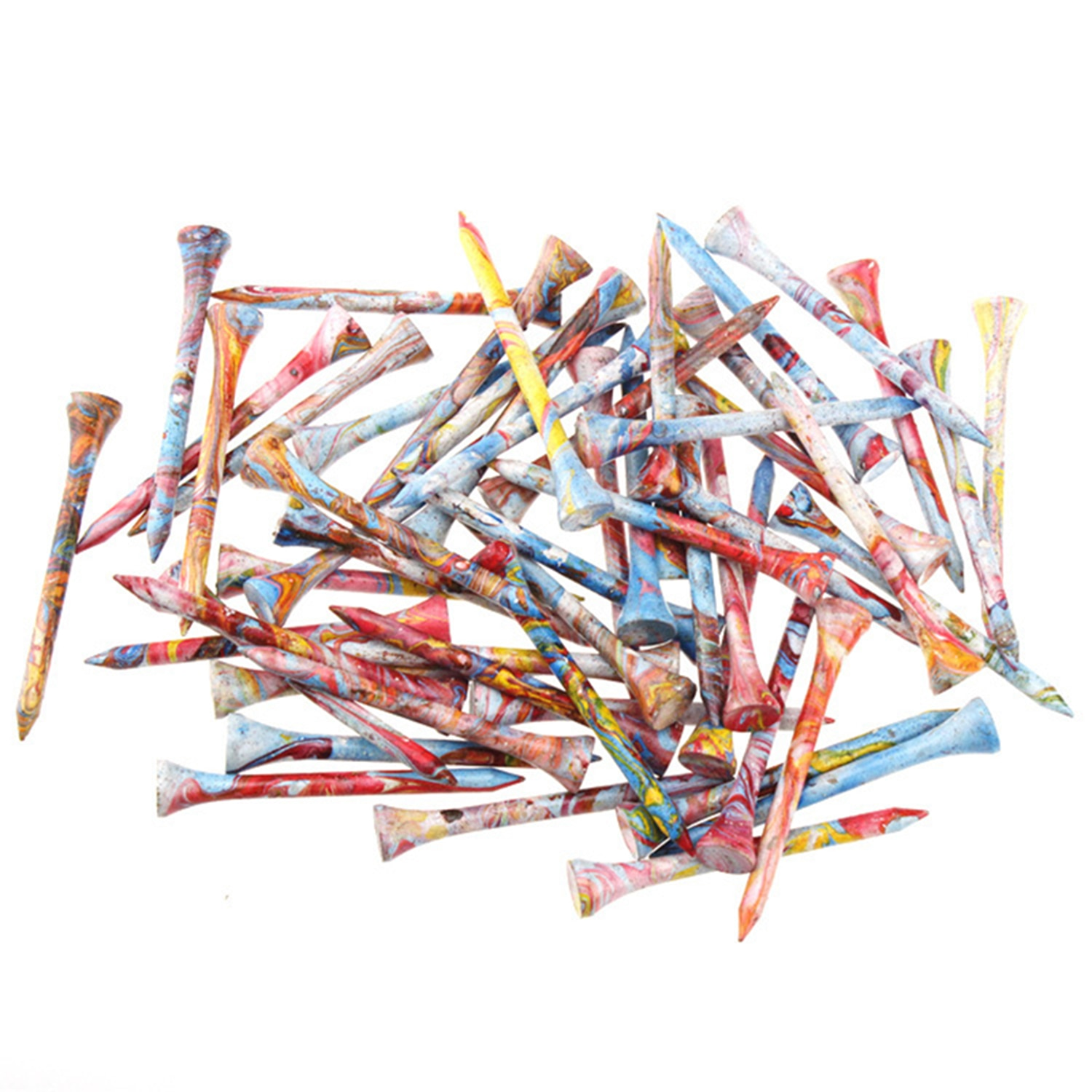 KOFULL 70 MM 100 Pcs Wooden Novelty Golf Tees Wood In Bulk 2 3/4 Inch Colorful Supplies Accessories