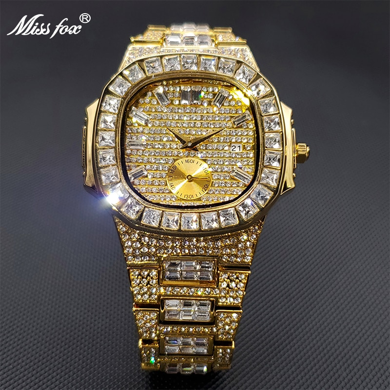Men's Watches Gold Ice Out Diamond Luxury Top Brand Design Diver Watches For Man Waterproof Dropship