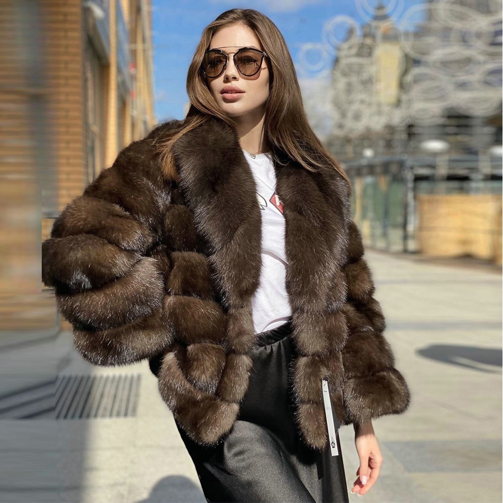 2021 الشتاء الموضة حقيقية الثعلب الفراء سترة بدوره إلى أسفل طوق العصرية الفراء الزي المرأة منتصف طول الثعلب الفراء معطف الطبيعية عالية الجودة