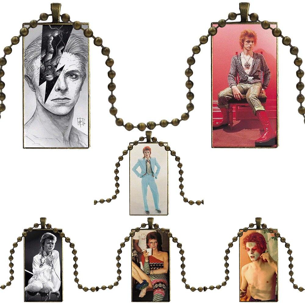 Ziggy Stardust David Bowie Rock joyería cabujón de cristal Color acero con gargantilla con colgante collar largo con dije de rectángulo para las mujeres