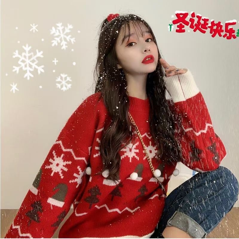2021Red Christmas Snowflake Warm Sweater Female Han Edition Lazy Winter Wind Outside Wear Turtleneck Sweater PP christmas snowflake patterned tunic turtleneck sweater