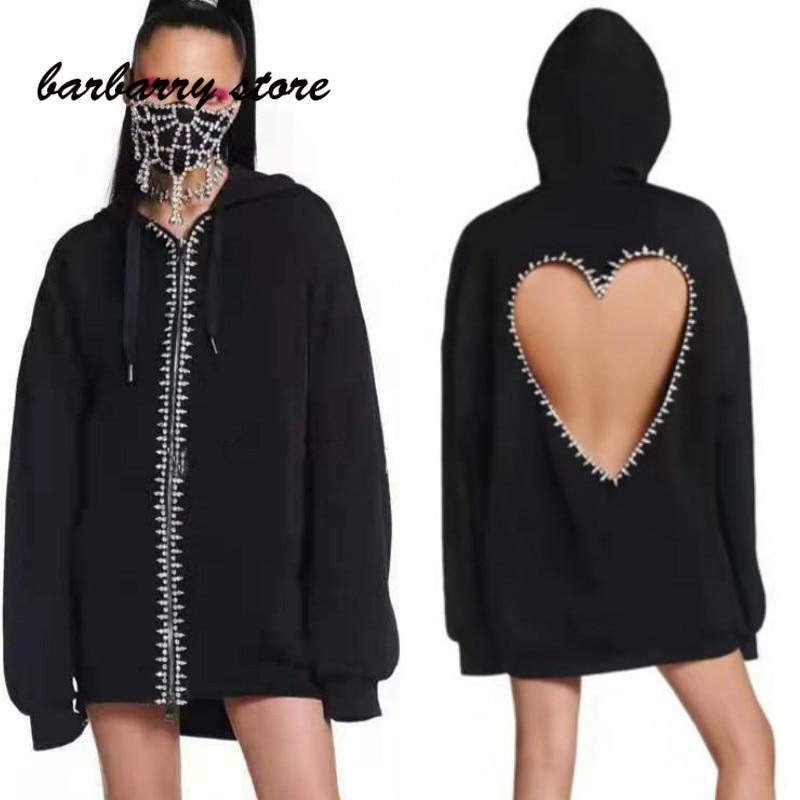2021 luxury design diamond studded heart-shaped hollow print fashion women's top versatile hooded zipper loose long sleeve coat