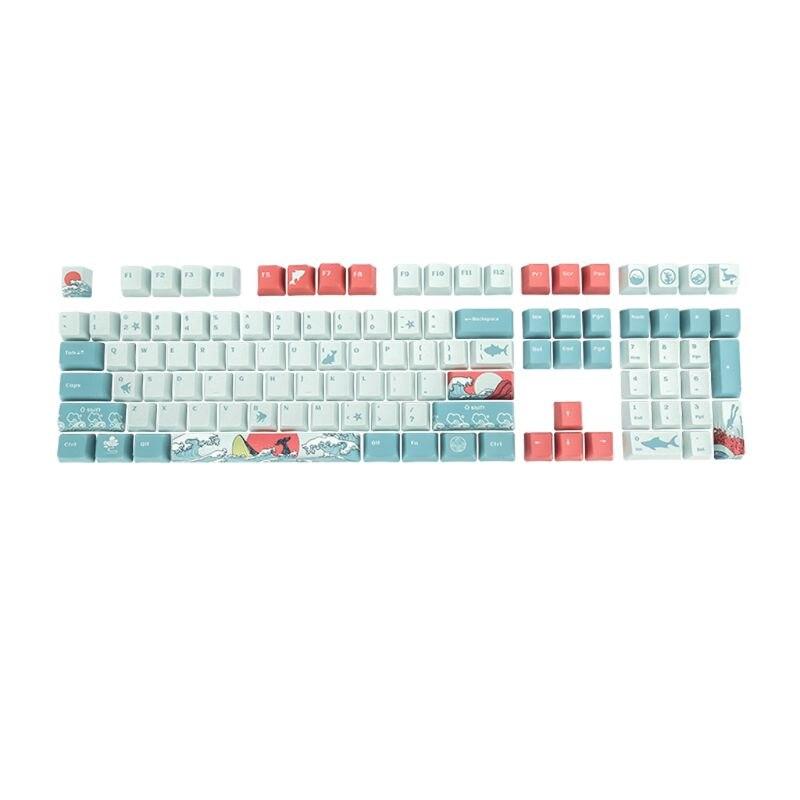 مجموعة كاملة من 5 مفاتيح للوحة المفاتيح الميكانيكية ، Ukiyo-e ، طباعة تسامي الصبغة ، 108 مفتاح ، OEM PBT
