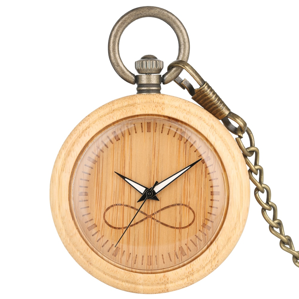 Bamboo Large Pocket Watch Men Infinite Mathematical Symbol Dial Bronze Rough Chain Pendant Watch for Female relogio de bolso color diamond case cover pocket watch girls sailor moon dial for female fancy red moon pendant clock accessory relogio de bolso