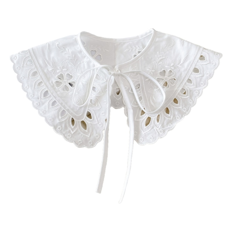 Korean Women White Cotton Fake Collar Shawl Wrap Hollow Out Floral Fish Scales Necklace Scarf Embroidery Short Poncho