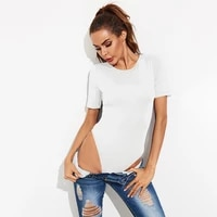 solid color short sleeve o neck slim one piece bodysuit women summer simplicity sexy beach party holiday bottoming shirt