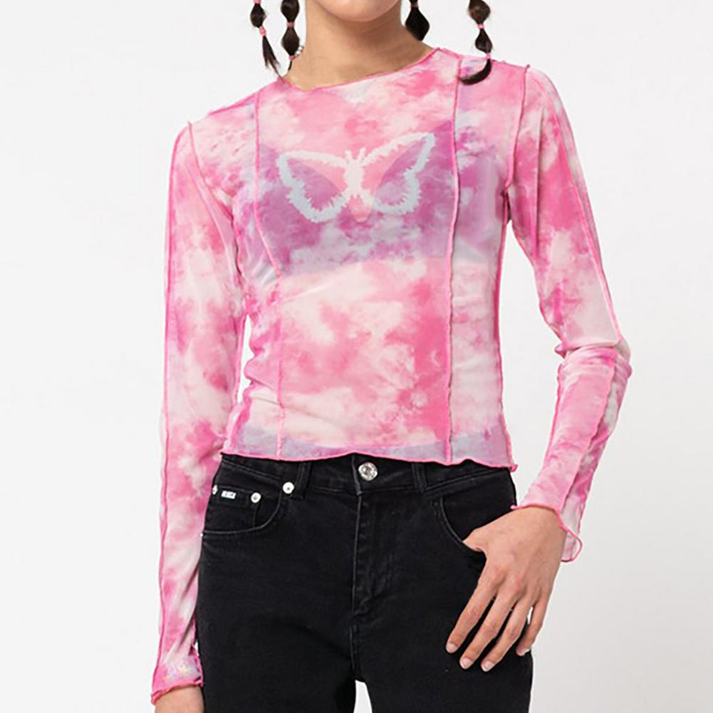 planet print crop tee Women's Shirt Long Sleeve Blouses Crop Shirt Top Girls Butterfly Print Polo Shirts Slim Casual Blouse Tee Navel Exposed Clothing