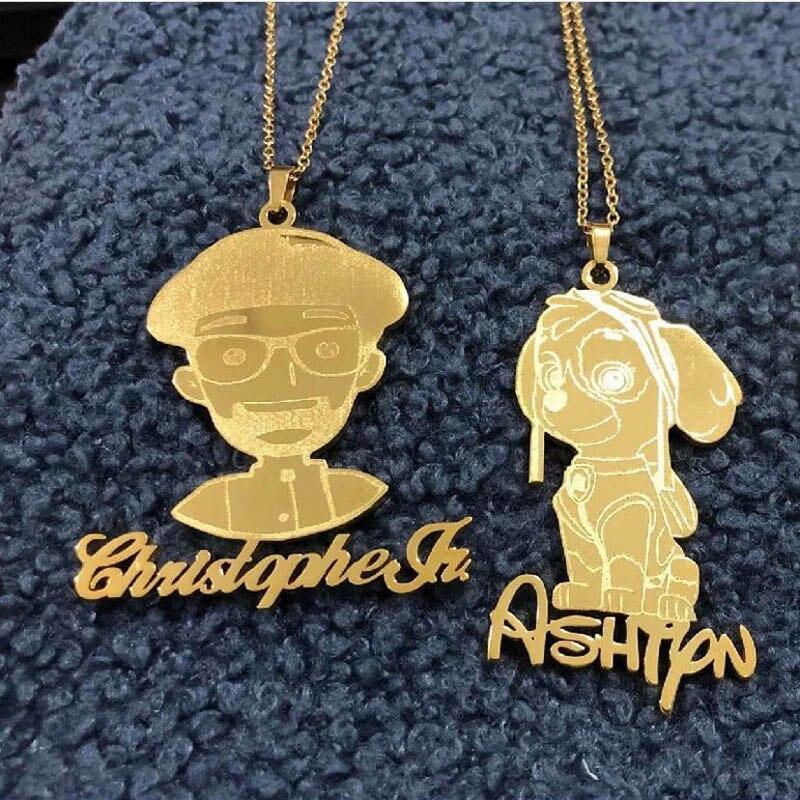 ICFTZWE заказной Детский рисунок детский художественный дизайн персональное ожерелье ювелирные изделия Рождественский подарок для семейного...