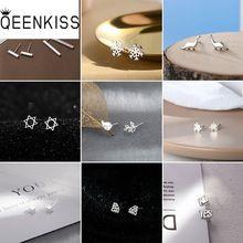QEENKISS EG707 2021 Fine Jewelry Wholesale Fashion Woman Girl Birthday Wedding Gift Star Crown 925 S