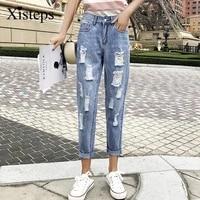 xisteps women new autumn blue jeans ripped holes ankle length mid waist spray paint denim pants loose no stretch plus size