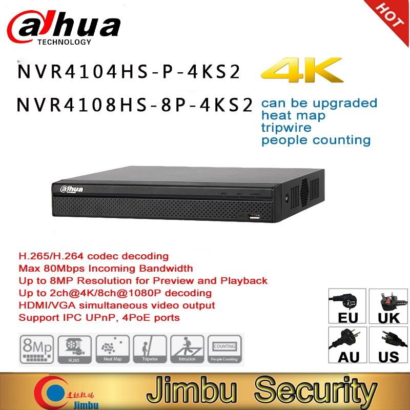 داهوا 4K NVR NVR4104HS-P-4KS2 NVR4108HS-8P-4KS2 ما يصل إلى 8MP القرار مسجل فيديو الناس عد التسلل خريطة الحرارة ثلاثية الأسلاك