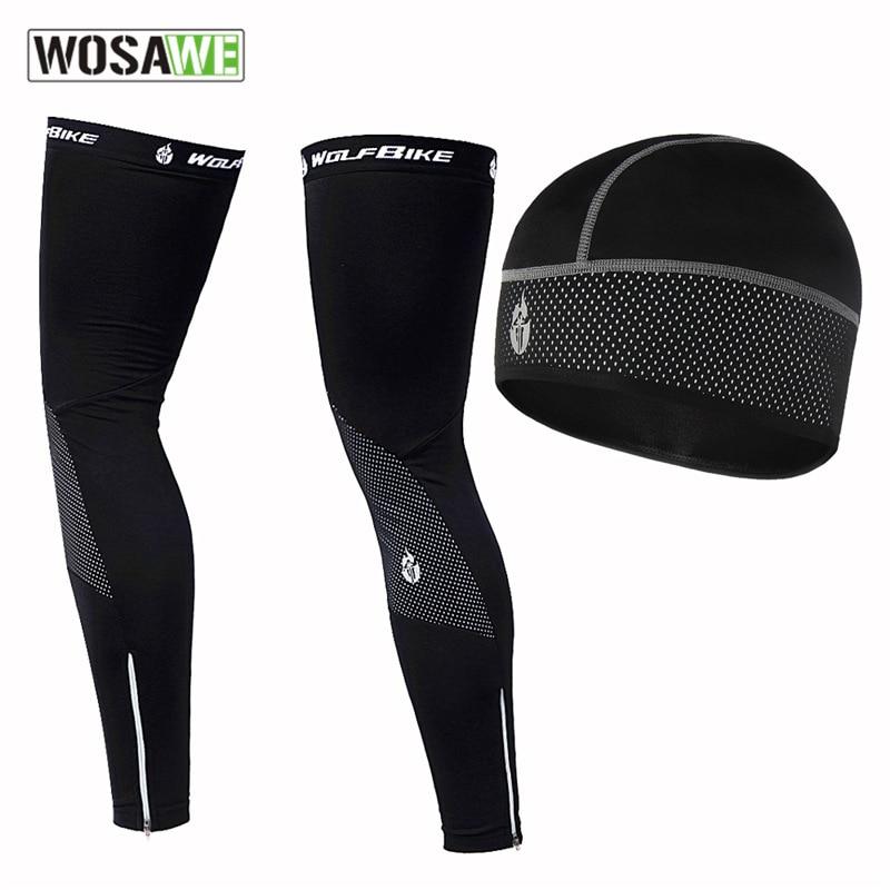 WOSAWE Windproof Warm Motorcycle Cap Leg Warmers Set Outdoor Sports Bicycle Cycling Warm Hat Leg Sleeves Leggings for Men Women enlarge