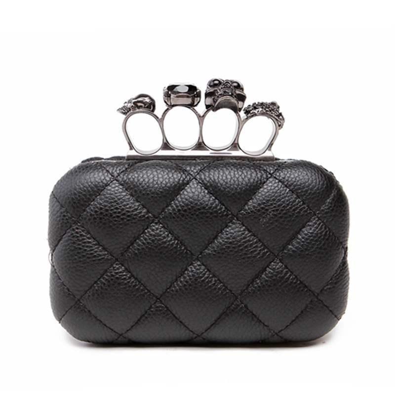 Bolso de noche retro con anillo de calavera para mujer, cartera de mano para mujer, bolso de mensajero negro de lujo, bolso de mano para fiesta