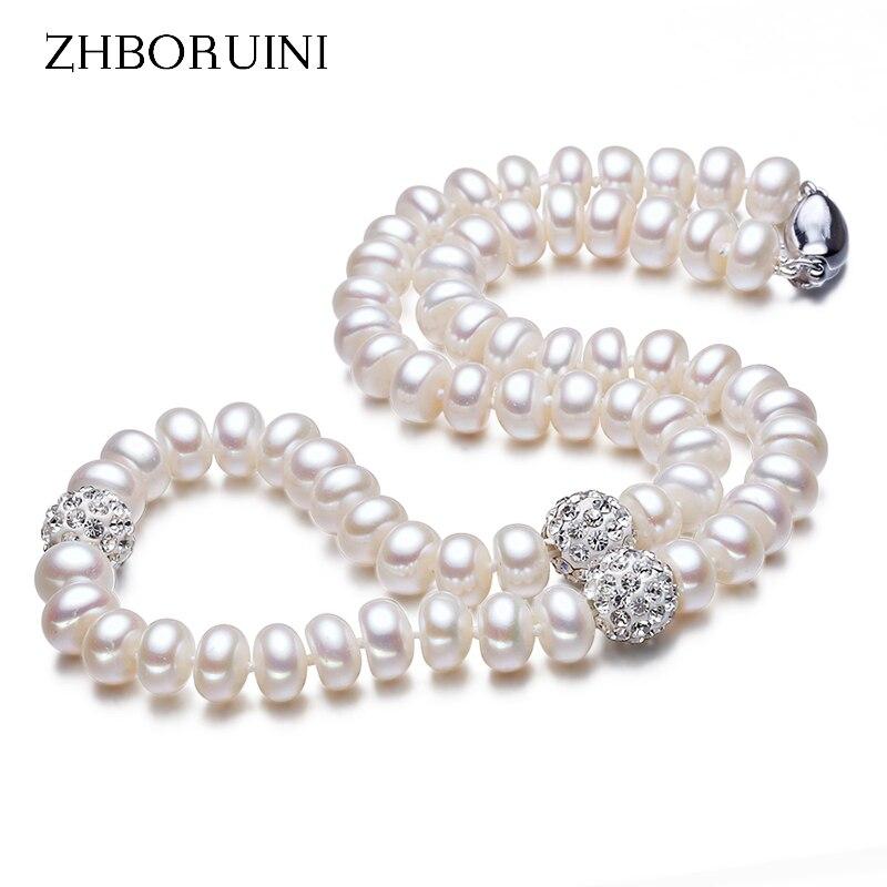 Collar de perlas ZHBORUINI 2019, joyería de plata de ley 925 para mujer, bola de cristal 8-9mm, perlas naturales de agua dulce, joyería de perlas