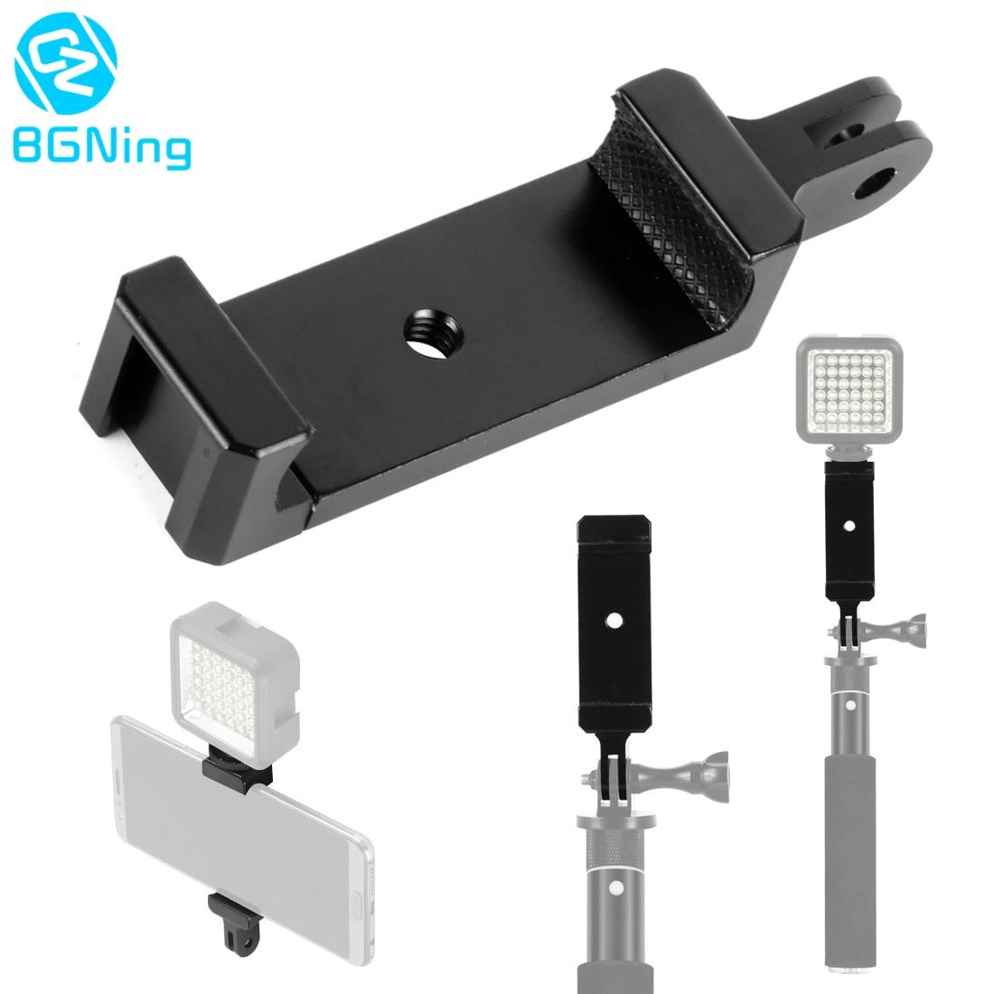 Soporte de teléfono Clip adaptador de trípode 1/4 agujero y abrazadera de montaje de zapata fría para iPhone para Huawei mi para Gopro Cámara monopié Selfie