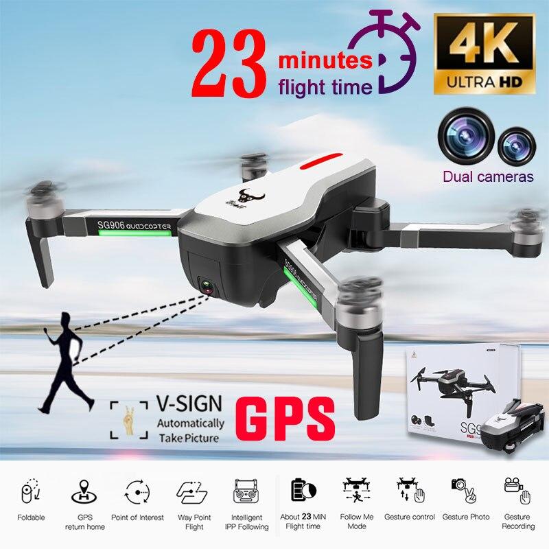 SG906 4K Cámara Dual de HD Drone RC Drone FPV 5G WIFI Quadcopter GPS Me sigue Motor sin escobillas de estabilización de imagen PK SG907