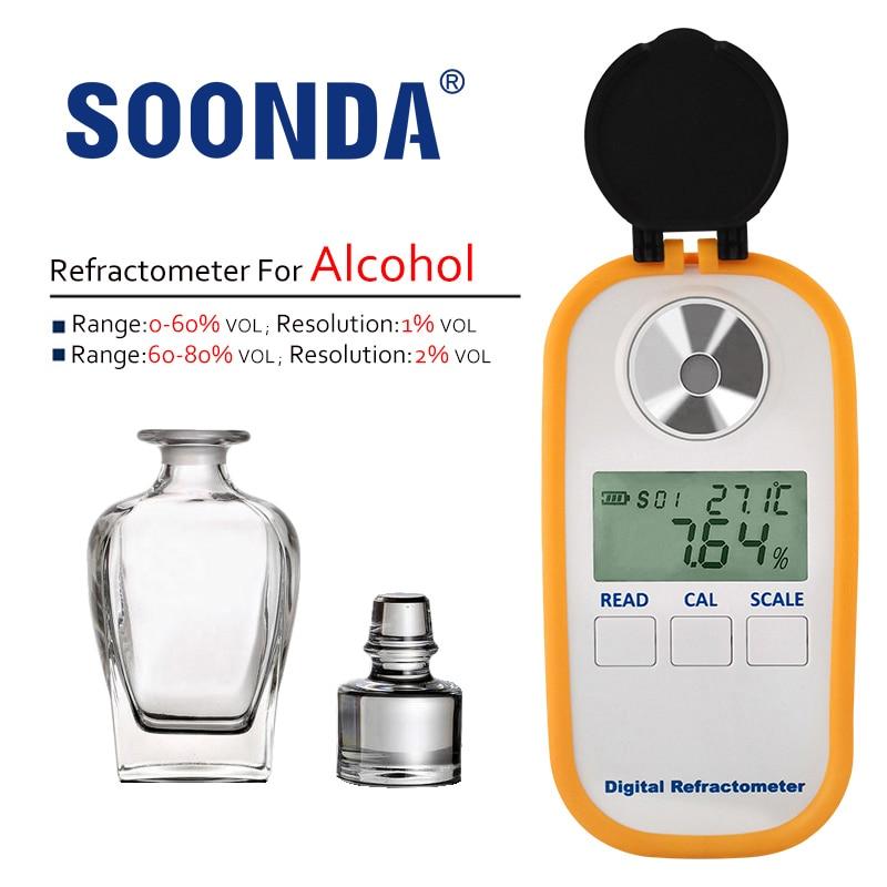 مقياس رقمي لكحول الكحول 0-80% فولت/فولت مقياس انكسار للمشروبات الروحية الكحولية مقياس لتخمير الكحول 1% VOL