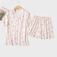 Zomer Pyjama Korte Mouw Shorts Thuis Pak Pyjama Voor Vrouwen Multicolor S-Xl Size Bloemen Printing Nachtkleding Pijama Mujer verano