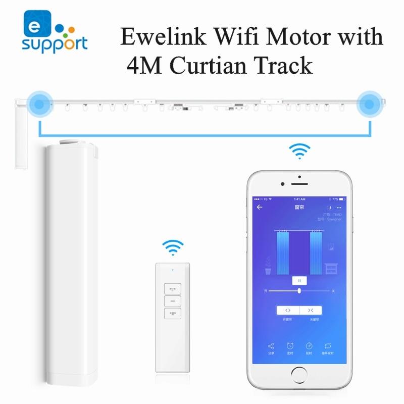 Ewelink بمحركات Wifi محرك الستائر مع 4mElectric سبائك الألومنيوم قضيب للستائر قضيب المسار لنظام التحكم الستار المنزل الذكي