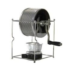 Paslanmaz çelik kahve kavurma manuel el kumandalı döner gaz alkol soba fasulye pişirme makinesi espresso makinesi