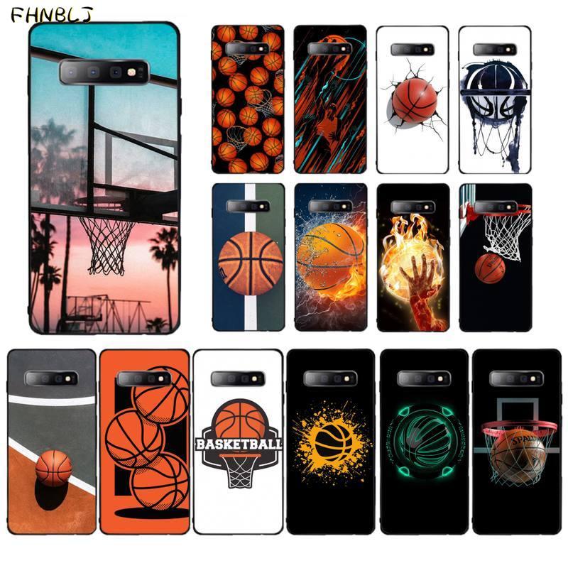 Fhnblj cesta de basquete macio silicone tpu telefone capa para samsung s10 5g s7 borda s8 s9 s10 s20 plus s10lite