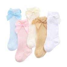 Chaussettes nouveau-né filles printemps-été maille chaussettes enfants Golf sans talons avec nœud princesse chaussettes enfant en bas âge chaussettes pour enfants
