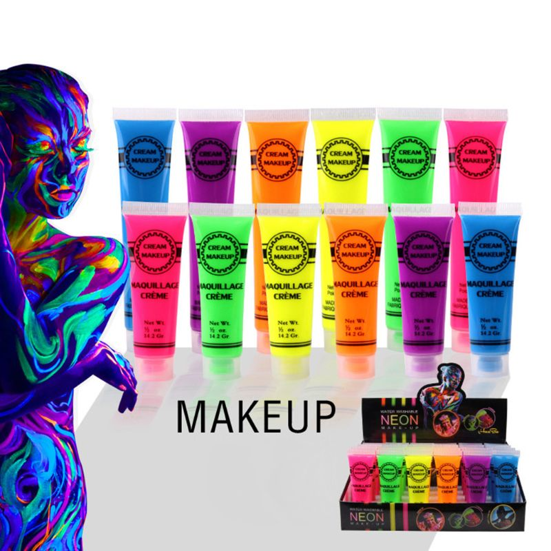 6 шт. набор краска для лица и тела неоновая светится в темноте для Rave Festival вечерние пигментные пудры