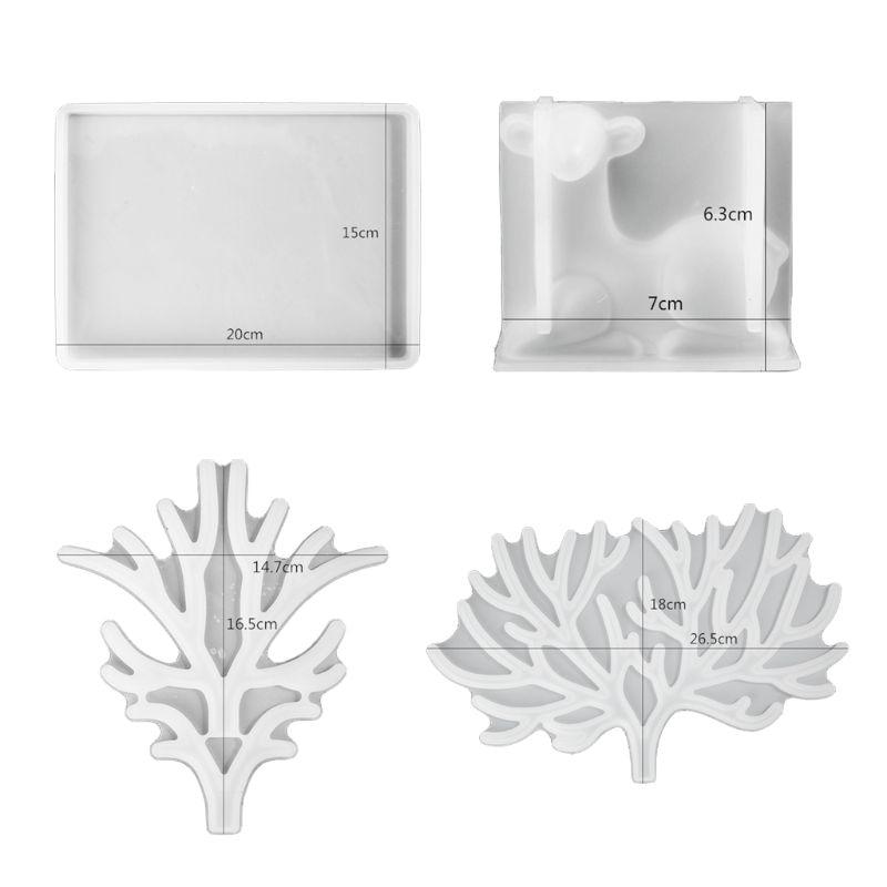 Cristal de molde de resina Epoxy gran asta árbol bandeja de molde de silicona para manualidades artesanía Swing de Estante de presentación de joyería