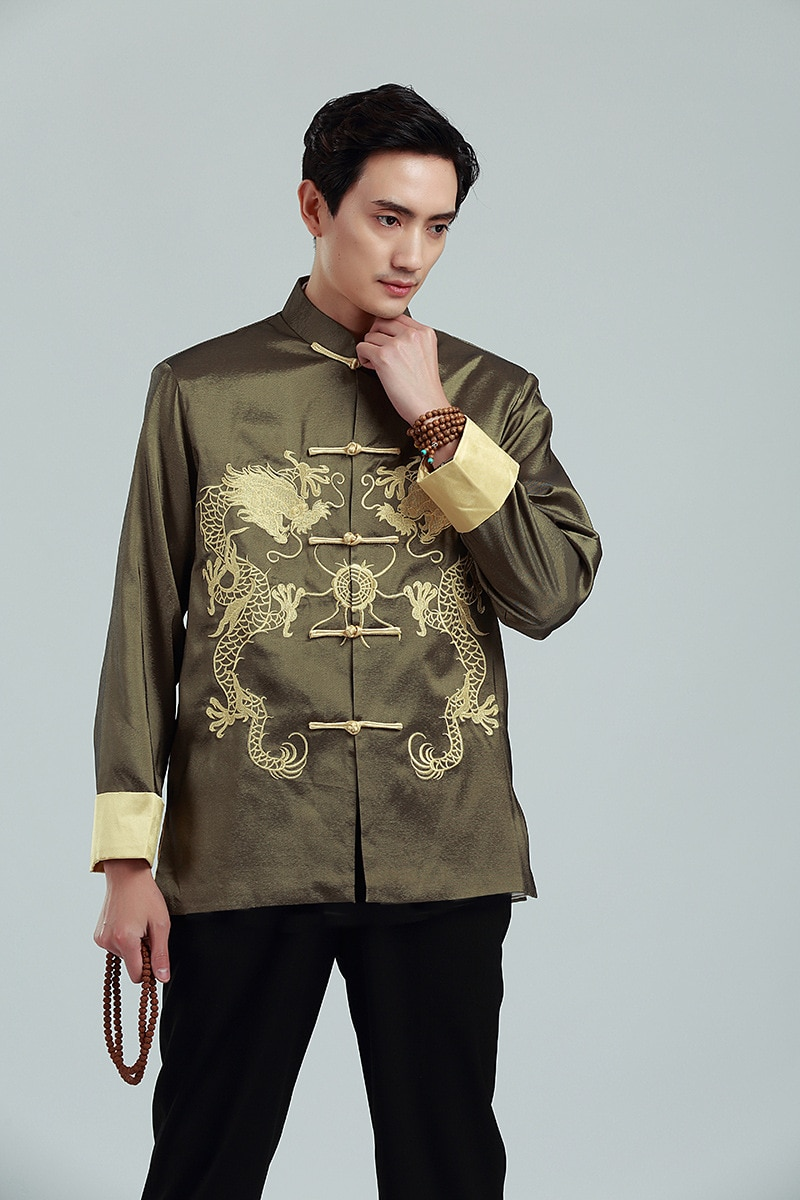 Chaqueta de manga larga bordada jin shuang traje chino de manga larga para hombre 2283-2 primavera Otoño Invierno para hombre desgaste Casual St