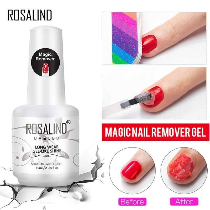 ROSALIND Magic Remover Nail Gel Polish Fast Clean Within 2-3 MINS Soak Off Gel Nail Polish Top Coat