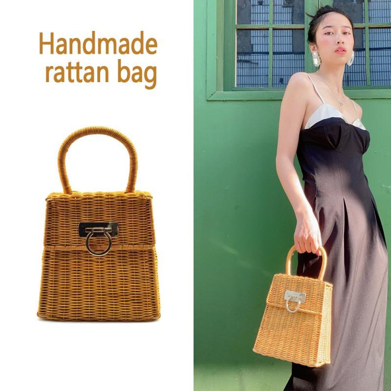Bohemian Rattan Woven Women Handbag Designer Lock Handwoven Top-handle Ladies Hand Bags Summer Beach Straw Women's Bag 2021 New