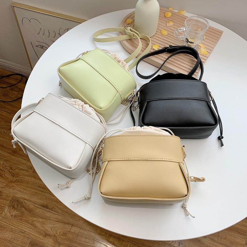Simple Solid Color PU Leather Crossbody Bucket Bags For Women 2021 Summer Shoulder Bag Trending Luxu