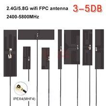 2 piezas 2,4G 5,8G doble banda FPC antena Flexible interna wifi bluetooth omnidireccional alta ganancia stick-up IPEX4 MHF4 m2